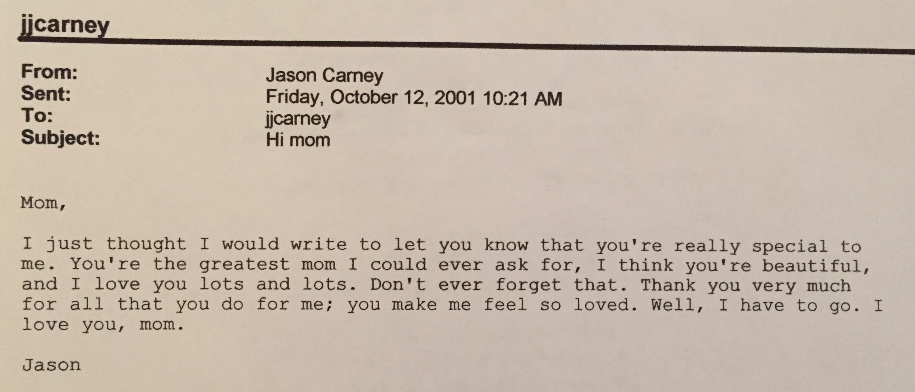 Email from Jason