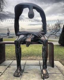 "Sculpture ""Melancholy"" by Albert György, on display in Geneva, Switzerland"